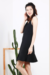 Flutter Hem Dress (Black)