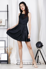 Shimmery Satin Sash Dress (Black)