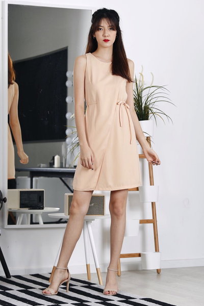 Foldover Waist-Tie Dress (Nude)