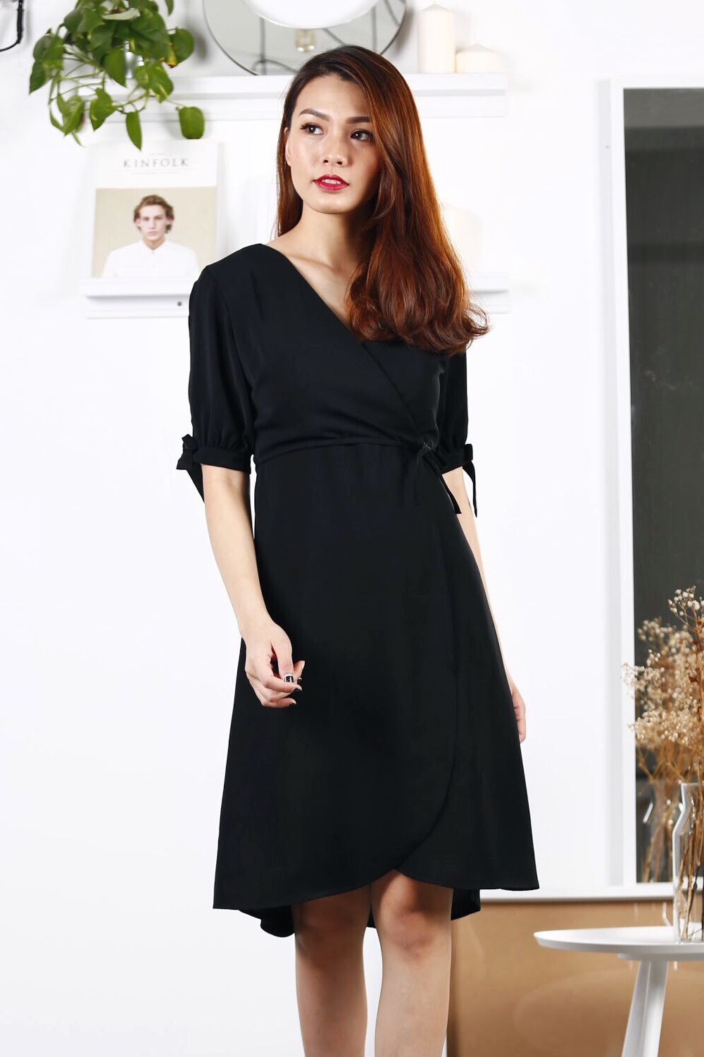 Ribbon Sleeve Wrap Midi Dress (Black)