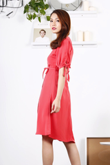 Ribbon Sleeve Wrap Midi Dress (Coral)