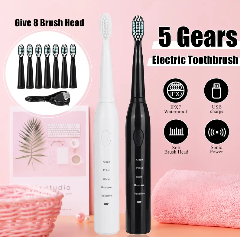 5 Modes Electric Toothbrush - Rechargeable Sonic Power IPX7 Waterproof With 8 Brush Heads