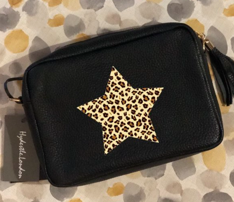 Black Leather camera-style bag with Leopard Print Star