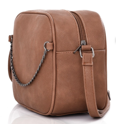 Sideways view of Beige Crossbody/Shoulder handbag with chain detail on the front