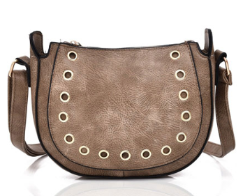Khaki ladies' handbag with ring detail on the front