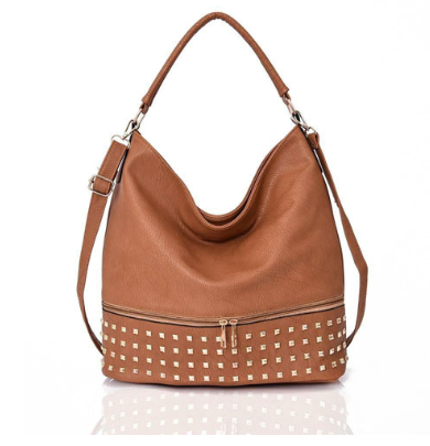 Tan Studded Slouch Tote Bag