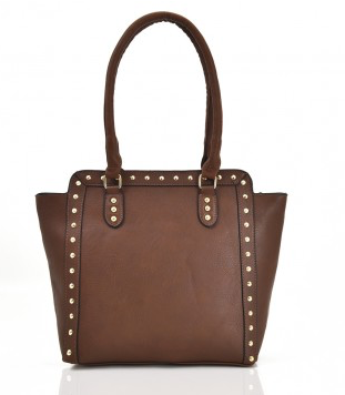 Chocolate Brown Studded Wing Tote bag