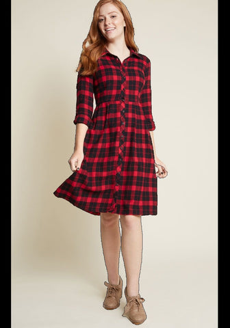 Collared-Tartan-summer-ladies-wear