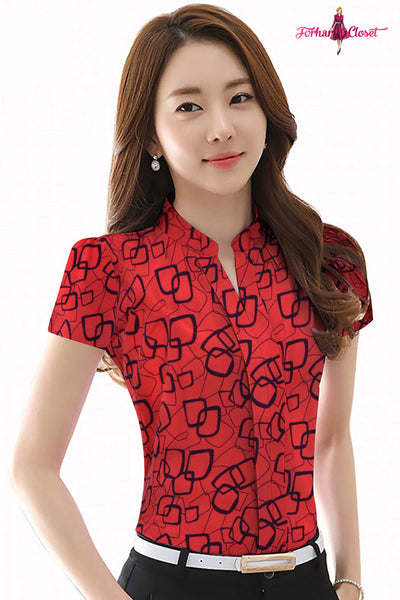 Mandarin collar abstract print shirt style top red square print