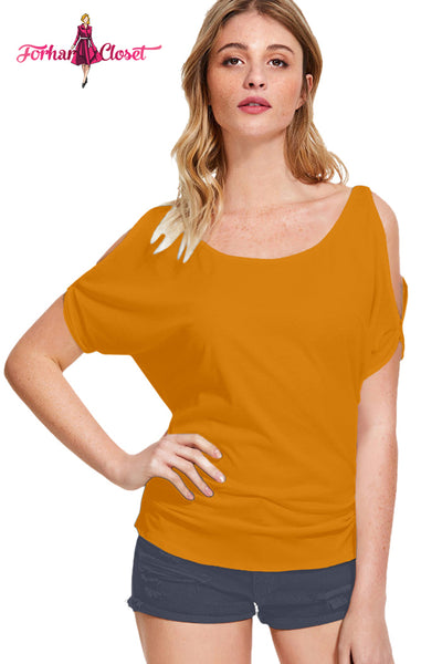 Womens western wear yellow cold shoulder tops