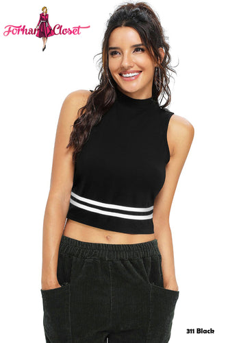 Sleeveless Mock Crop Top 2 - ForHar Closet