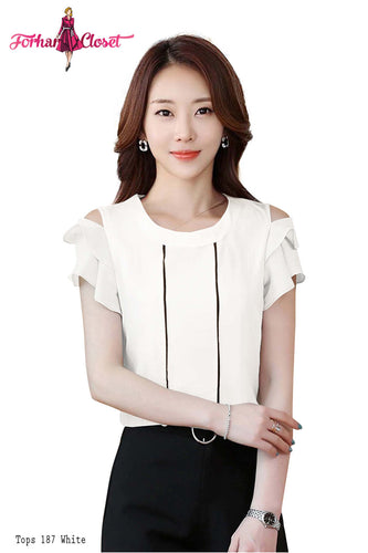 Women's cold shoulder ruffled sleeve white autumn top round neck - ForHar Closet