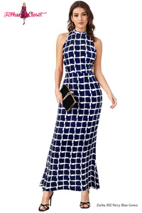 Navy Blue Square print Mock Sleeveless Bodycon Long Dress - ForHar Closet