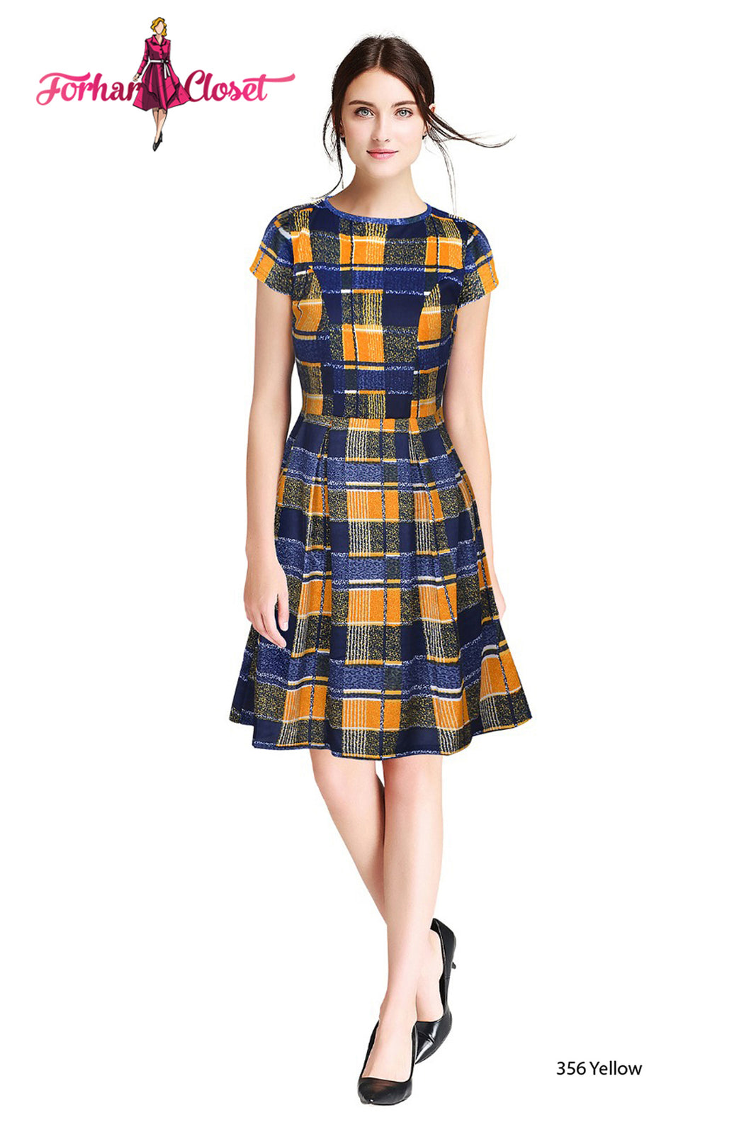 Yellow Square Print short sleeve Midi Dress - ForHar Closet