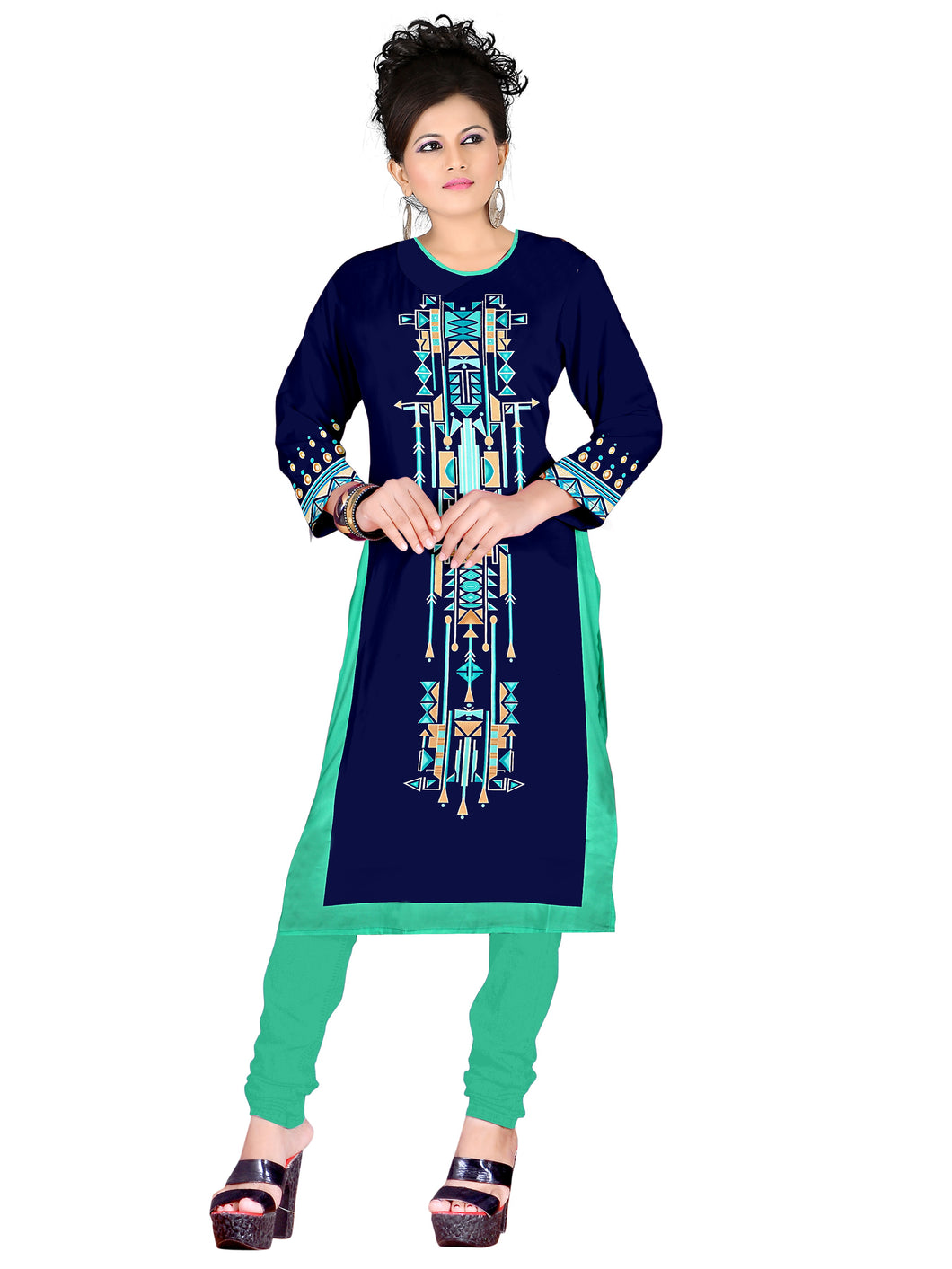 3/4 sleeve Indian Dress Abstract print 2(Top only) - ForHar Closet
