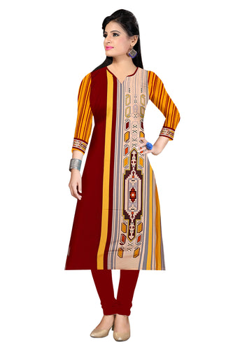 3/4 sleeve Indian Dress Abstract Print 11 (Top Only) - ForHar Closet