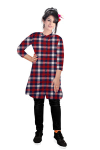 Womens long shirt Dress -Checkered Print - ForHar Closet