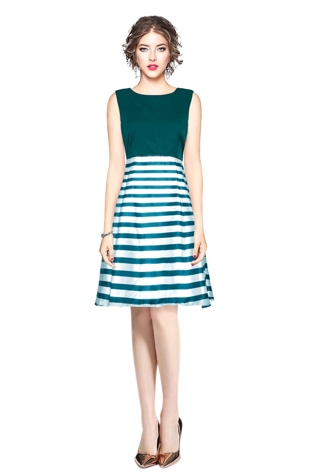 Sleeveless striped Retro style dress - ForHar Closet