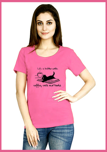 Coffee, Cats,  Books Print T-shirt - ForHar Closet