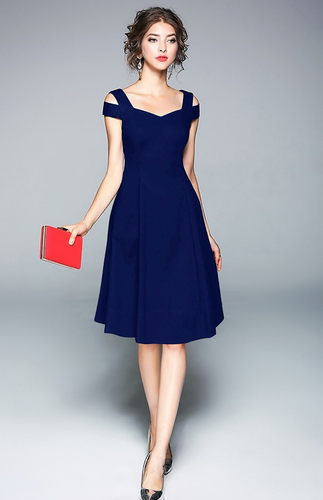 Navy Blue Cold Shoulder Midi Dress - ForHar Closet