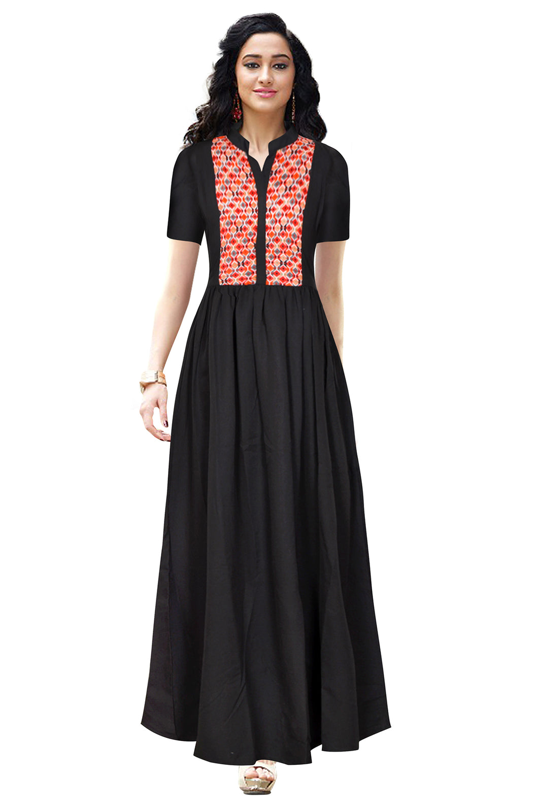 Collared Long Dress Black with printed vest design - ForHar Closet