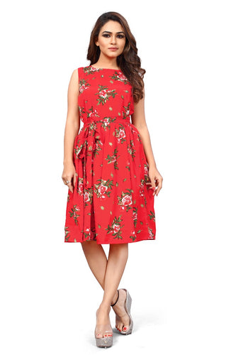 Floral Print sleeveless Pleated Midi Dress - ForHar Closet