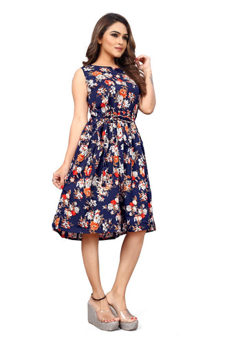 Floral Print sleeveless Pleated Midi Dress - 2 - ForHar Closet