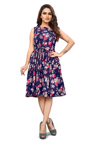 Floral Print sleeveless Pleated Midi Dress - 3 - ForHar Closet
