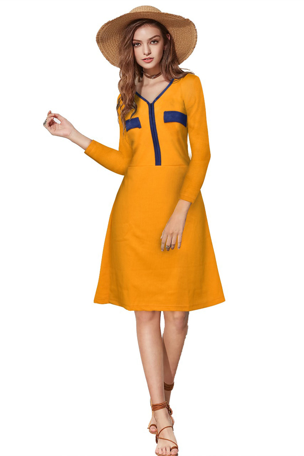 3/4 Sleeve Midi V-neck dress - ForHar Closet