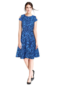Short Sleeve Midi Dress Square printed Blue - ForHar Closet