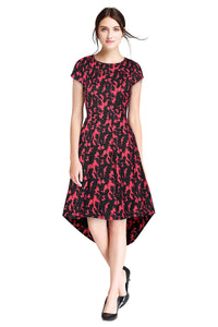 Hi- Low Dress Short Sleeve Red Flame Printed - ForHar Closet