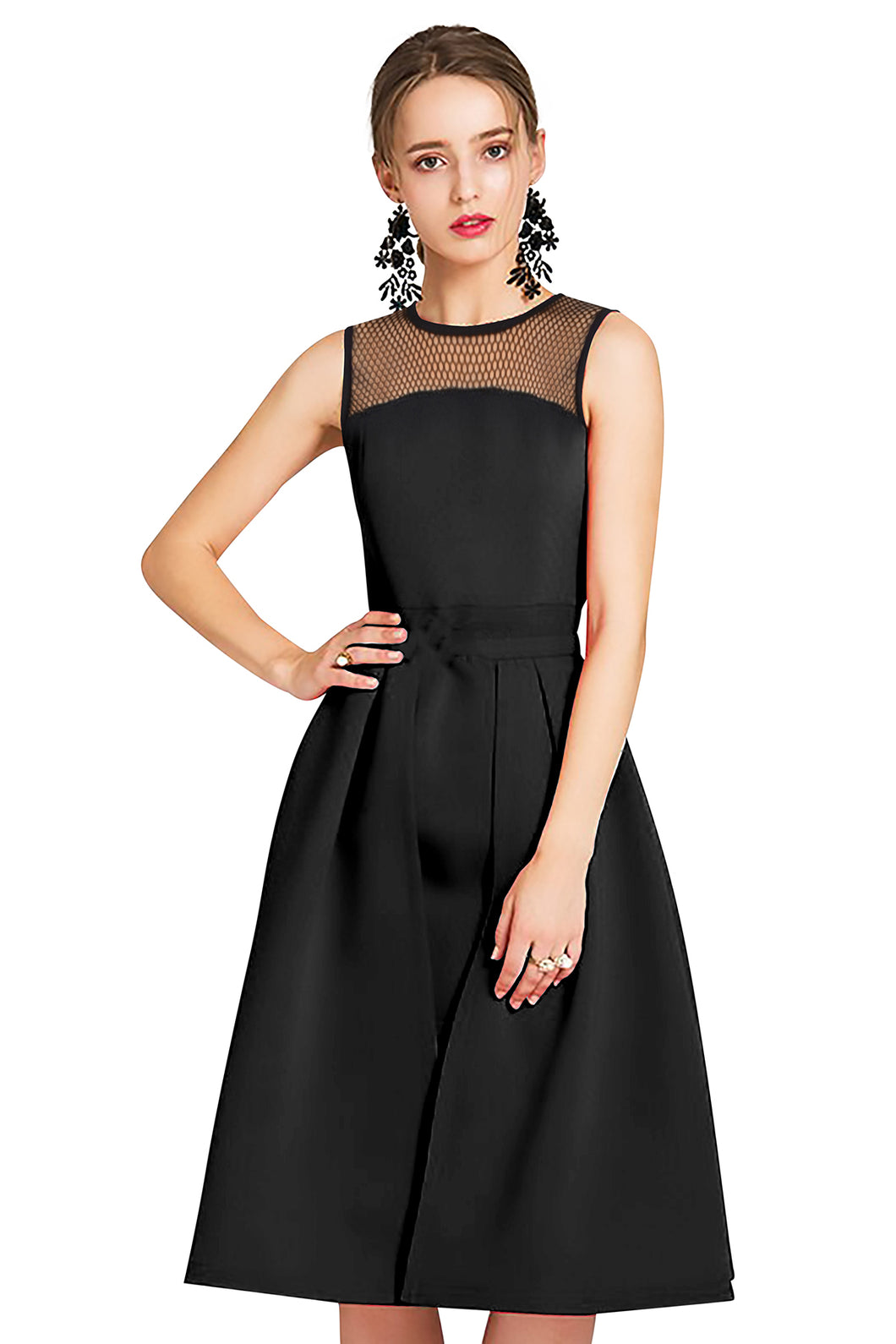 Mesh Shoulder sleeveless Midi Party Dress - ForHar Closet
