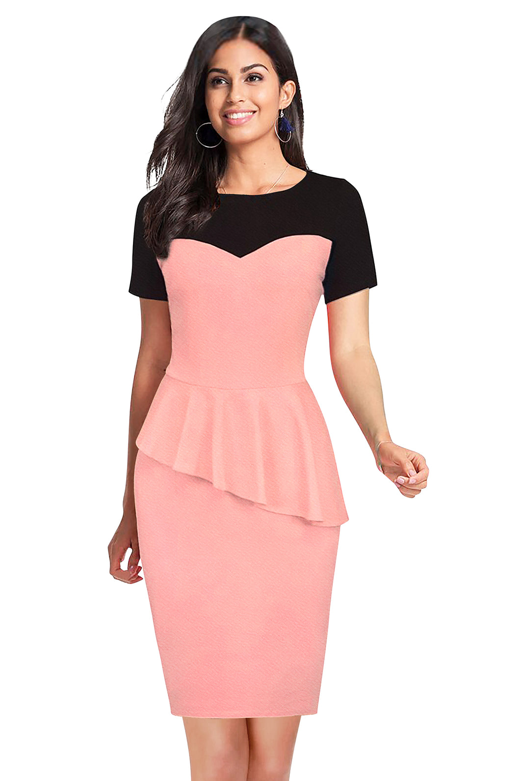 Ruffled Hem Bodycon Midi Dress - ForHar Closet