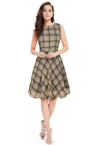 Sleeveless Checkered Print Midi Dress - ForHar Closet