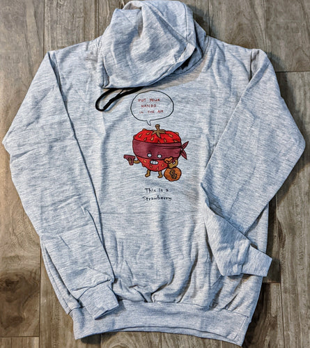 Strawberry Gangster Grey Fall/Winter Printed Hoodie - ForHar Closet