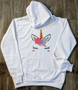 Unicorn White Fall/Winter Printed Hoodie - ForHar Closet