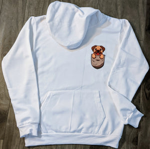 Pocket Pup White Fall/Winter Printed Hoodie - ForHar Closet