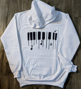 Musical Print White Fall/Winter Hoodie - ForHar Closet