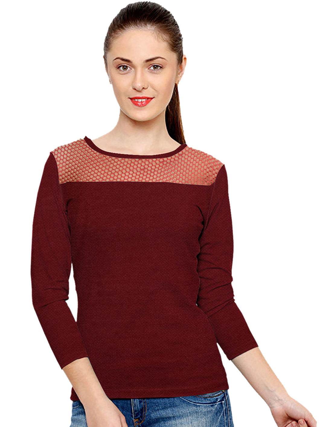 3/4 sleeve Maroon Top w/ mesh shoulder - ForHar Closet