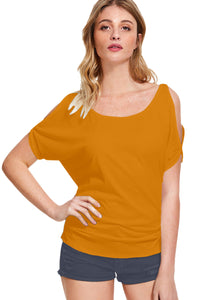 Yellow Cold Shoulder Tops - ForHar Closet