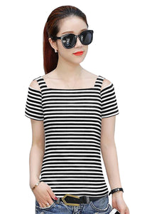 Cold Shoulder Striped Top - ForHar Closet