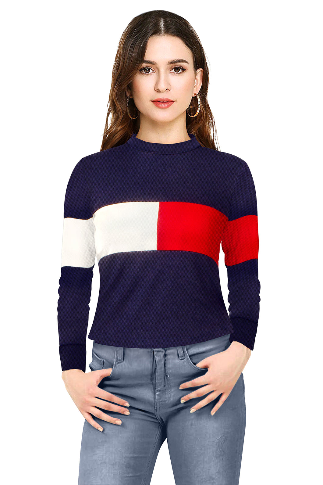 Red White stripe Blue top full sleeve - ForHar Closet