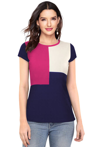 Short Sleeve top with square print - ForHar Closet