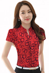 Mandarin Collar abstract print Shirt style top Red Square Print - ForHar Closet