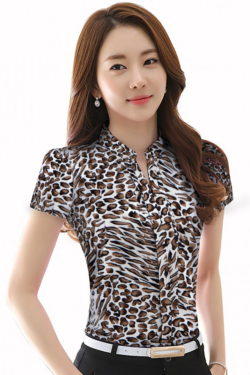 Mandarin Collar abstract print Shirt style top Leopard Print - ForHar Closet