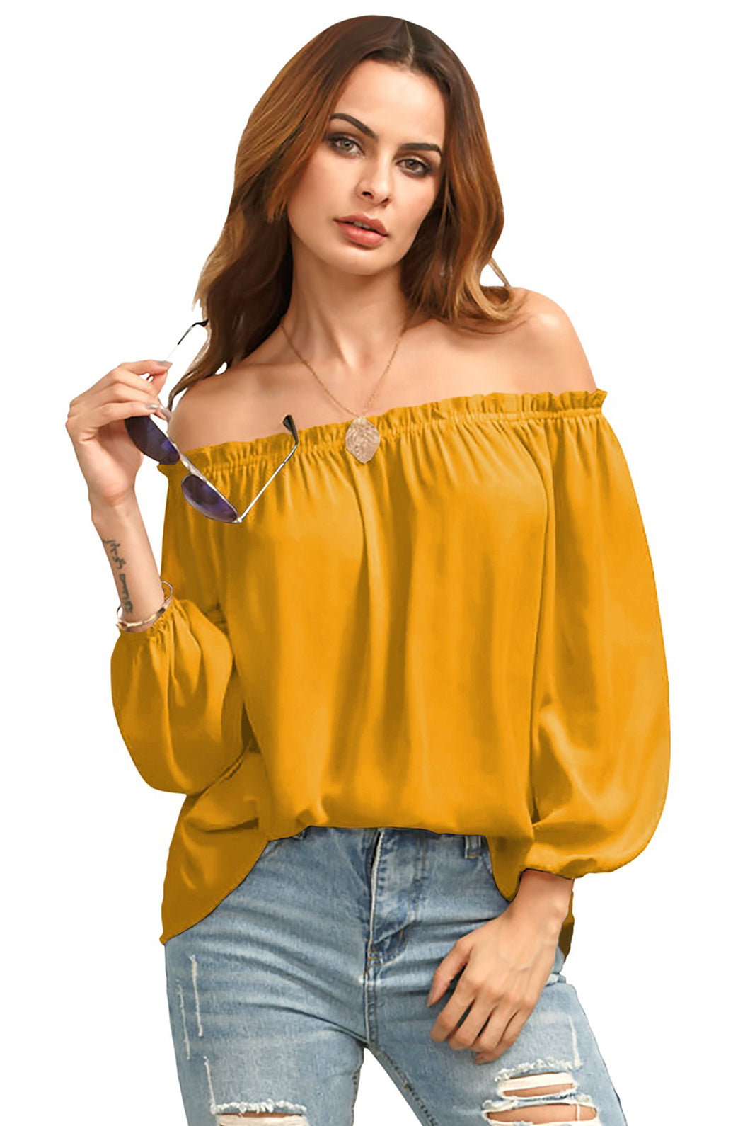 Full Sleeve Ruffled Off Shoulder Top - ForHar Closet