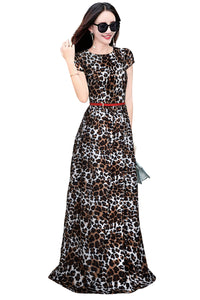 Short Sleeve Leopard Print Long Dress - ForHar Closet