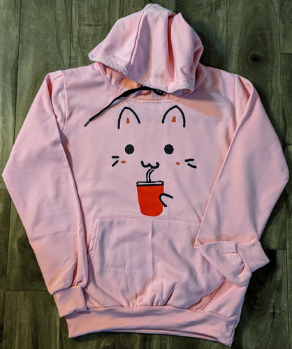 Cat Face Print Grey Fall/Winter Printed Hoodie - ForHar Closet