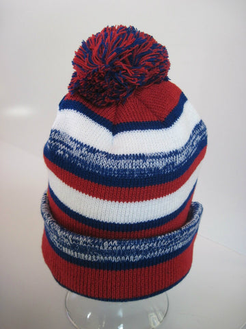 Winter Beanie - Red, White, Blue and Grey - RMOHATS