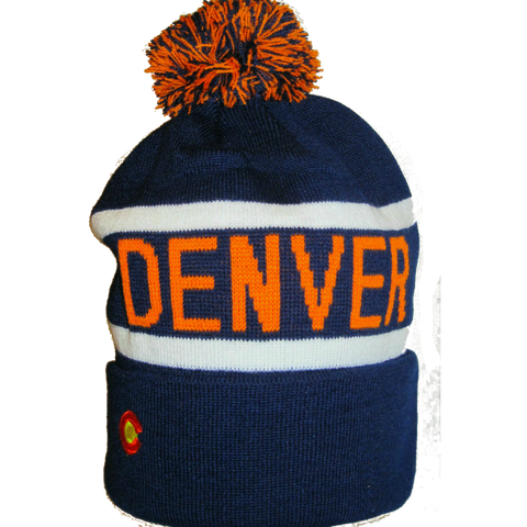 Denver Broncos Style Blue & Orange Winter Beanie - RMOHATS